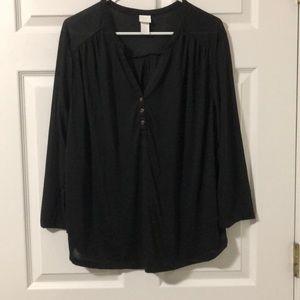 H&M Black Button Blouse